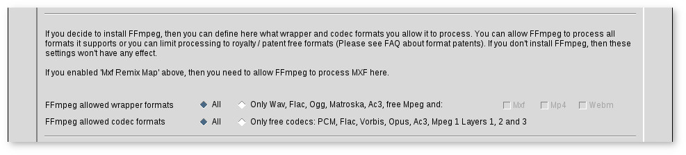 Machine readable results and MXF audio remix mapping